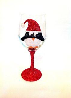 Glitter penguin wine glass