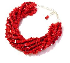 Red Coral Necklace  Chunky Red Statement by WildflowersAndGrace