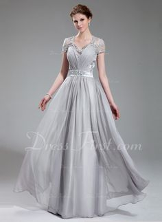 Princesový Véčkový výstřih Délka na zem Chiffon Charmeuse Večerní šaty S Volán Lace Zdobení korálky (017019722)