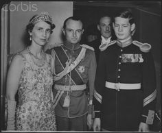 1937 Princess Olga of Yugoslavia in the massive Cartier kokoshnic, with her husband, Prince Paul and Prince Michael of Romania Romanian Royal Family, Greek Royal Family, Michael I Of Romania, Prince Paul, King George I, Greek Royalty, Peles Castle, Queen Victoria Family, Christian Ix