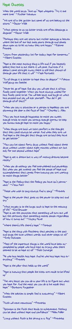 Hope quotes. For Relay or something else... It's ALWAYS good to have hope. :-)