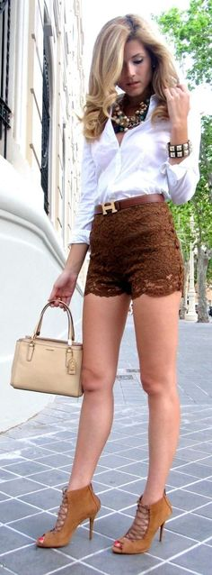 Women's fashion | White blouse, brown lace shorts, statement necklace, heels, handbag