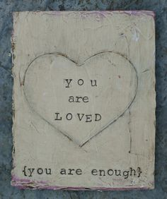 You Are Loved + You Are Enough is an original, handmade art card. This mixed media card is made by repurposing a vintage book cover. It has been