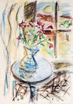 Stilleben mit Blumenvase vor einem Fenster von Max Schwimmer