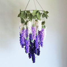 Purple Wisteria Chandelier Felt Crib Mobile, Felt Flowers Mobile, Floral Nursery Decor, Flower Crib Mobile, Baby Girl Crib Mobile