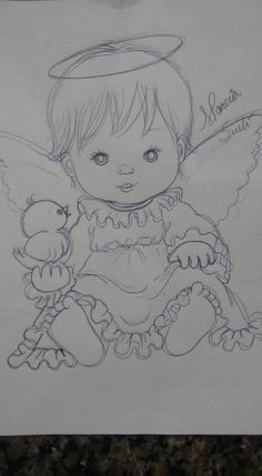Angel Drawing, Baby Drawing, Angel Sketch, Tole Painting, Fabric Painting, Angel Pictures, Art Drawings Sketches, Coloring Book Pages, Digital Stamps