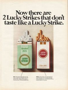 "1967 LUCKY STRIKE CIGARETTES vintage magazine advertisement ""Now there are 2"" ~ Now there are 2 Lucky Strikes that don't taste like a Lucky Strike. ~"