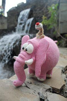 Needle Felted Toy Pink Elephant Felt Toys India by TashaToys