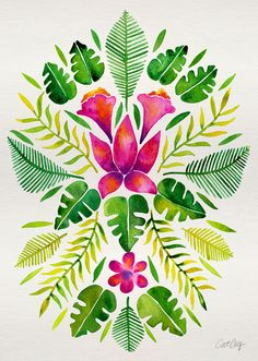 Tropical Symmetry – Pink & Green Art Print