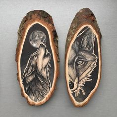 Netherlands-based artist Kirsten Roodbergen celebrates the organic beauty of a wooden canvas with her bold, nature-themed drawings. Working on small slices