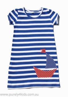 INSPIRATION - Nautical Summer Striped T-shirt Dress, by Urchin - Purely4Kids