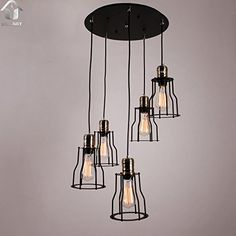 UNITARY BRAND Black Vintage Metal Cage Shade Hanging Ceiling Chandelier Max. 300W With 5 Lights Painted Finish Unitary http://www.amazon.com/dp/B010B6MF4G/ref=cm_sw_r_pi_dp_Y6.Rvb1KWZBVZ