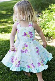 Sewing Clothes Patterns The perfect Twirly dress! Every little girl needs a dress that twirls! This dress pattern has a fully lined bodice and no buttons or zippers! Sewing Patterns Girls, Dress Patterns, Coat Patterns, Kids Clothes Patterns, Pattern Dress, Pdf Patterns, Pants Pattern, Sewing Projects For Kids, Sewing For Kids