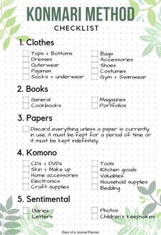 the Konmari checklist pdf, the life changing magic of tidying up pdf How to use A Konmari Bullet Journal to declutter and get organized. Includes Konmari Checklist as free bullet journal printable. Cleaning Checklist, Cleaning Hacks, Diy Hacks, Cleaning Room, Daily Cleaning, Organiser Son Dressing, Konmari Methode, Declutter Your Life, Declutter Bedroom