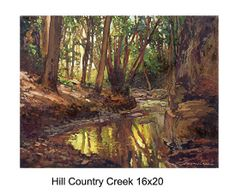 Hillcountrycreek by Jan Schmuckal Oil ~ 16 x 20 See bookmarked videos of Texas creeks.