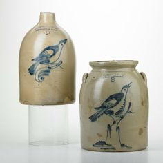 """Two stoneware vessels with bird motifs, Flemington, NJ, early-20th c.; Blue-decorated, salt-glazed earthenware; Both marked; Taller: 13 1/2""""..."""