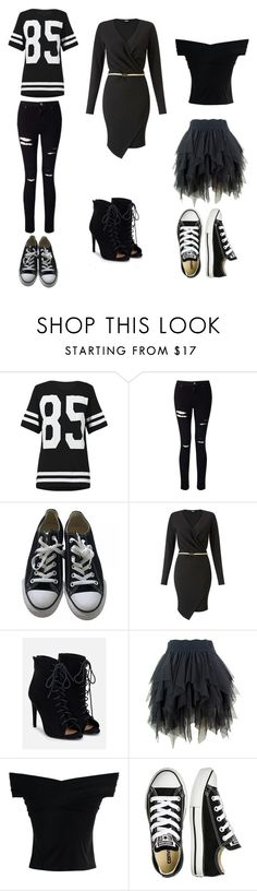 """""""black"""" by lillie-schild on Polyvore featuring Miss Selfridge, Converse, JustFab and Chicwish"""