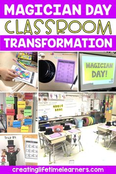 Check out this fun magician classroom transformation theme for elementary students in first, second, third, fourth, fifth grade. This magician day room transformation will set the stage to engage and is stress-free! It's a worksheet or escape room alternative, and can be used in small groups or partners. 1st, 2nd, 3rd, 4th, 5th graders enjoy classroom transformation ideas. Digital and printables for kids (Year 1,2,3,4,5) #setthestagetoengage #classroomtransformation #mathactivities