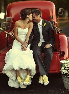 to wear yellow converse on my wedding day ! Wedding Pics, Wedding Bells, Wedding Engagement, Wedding Events, Our Wedding, Dream Wedding, Wedding Attire, Wedding Favors, Trendy Wedding