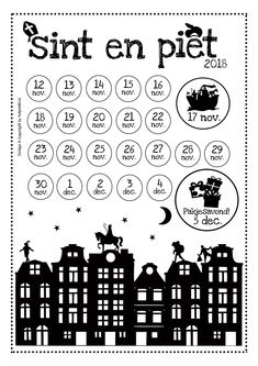 AFTELKALENDER SINTERKLAAS 2018 | Tof prints ♥ Christmas Love, Christmas And New Year, Christmas Ideas, Saint Nicolas, Creative Thinking, Fall Crafts, Holidays And Events, Winter Wonderland, Free Printables