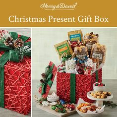 Unwrap something delicious! This beautiful present gift box is filled with sweet and savory snacks for any food lover and wrapped up in a beautiful green ribbon. It's one gift that will definitely stand out under the tree!