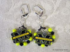 College Charm Dangle Earrings-Michigan by SDJewelryDesign16