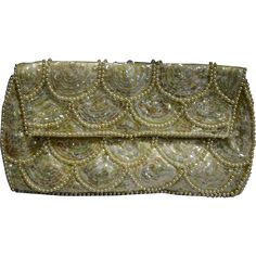 White Satin Sequins Pearl Beads Clutch Purse Evening Bag Made in Japan