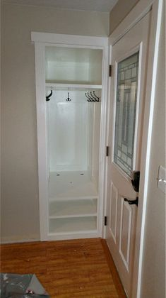 home Redone Small Entry Closet: 7 Steps (with Pictures) Preventing Bathroom Mold Your bathroom is on Small Coat Closet, Tiny Closet, Small Closets, Hidden Closet, Front Hall Closet, Entryway Closet, Closet Mudroom, Closet Doors, Entry Closet Organization