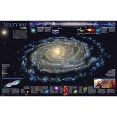 This computer-generated image of the Milky Way shows the entire galaxy in one perspective of a model compiled specially for National Geographic. The model incorporates the positions of hundreds of thousands of stars and nebulae within the galaxy, show Galaxy Hd, Galaxy Planets, Milky Way Map, Perseus Constellation, National Geographic Maps, Star Chart, Andromeda Galaxy, Wall Maps, Space And Astronomy