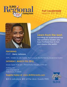 Join us Saturday, March 9, 2013 in Fort Lauderdale! Register today at www.5LINXevents.com