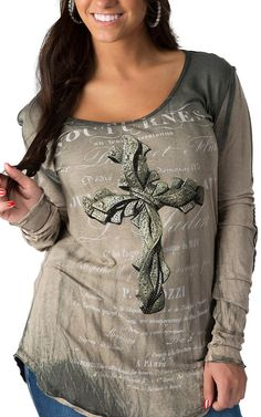 Velvet Stone Women's Green Long Sleeve French Print with Knotted Cross Top