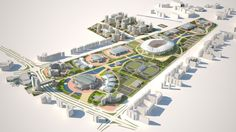 Ashgabat Olympic Complex Proposal / Arup  -aerial render of site