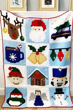 Christmas Crochet Blanket, Christmas Afghan, C2c Crochet Blanket, Crochet Winter, Holiday Crochet, Crochet Granny, Crochet Pattern Free, Crochet Motifs, Afghan Crochet Patterns