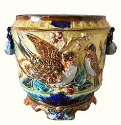 Antique Majolica Cache Pot with Birds c. 1900