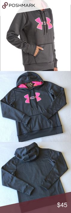 Under Armour Storm Fleece Printed Big Logo Hoodie 👇PLZ READ THE COMPLETE DESCRIPTION BEFORE COMMENTING & OFFERING! Thank u!👇  Brand new with tag Color: Carbon Heather/Pink Size: MD/M (Women's) Retail: $54.9  🍀Price is FIRM unless bundled!🍀 ❌Trades ❌Holds All sales r final Welcome product-related questions! Ur responsible for ur size. Under Armour Tops Sweatshirts & Hoodies