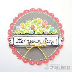 Lawn Fawn - Penelope's Blossoms + coordinating dies, Let's Polka 6x6 paper, Lemon Lawn Trimmings, Circle and Scalloped Circle Stackable Lawn Cuts dies _ It's Your Day! by Chari for Lawn Fawn Design Team