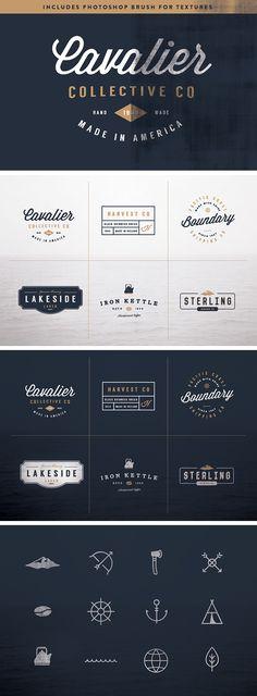 6 Vintage Logo Kit - download free templates by PixelBuddha