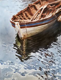 Original Watercolor Painting, Reflections, 36x48 cm