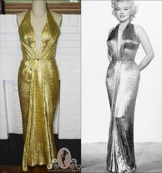 Marilyn Monroe Gold Lame DressHalter GownDEEP V by Morningstar84, $395.00