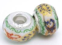 FREE SHIPPING! Awesome Lot Of 5 Sterling Silver Lampwork Porcelain Charms #091 $7.95