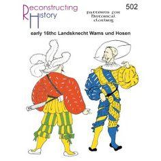 Patterns of Time Century German Wams und Hosen (Landsknecht Doublet & Breeches) Pattern, Medieval-Renaissance-Elizabethan Jester Costume, Costume Armour, Clothing Patterns, Sewing Patterns, Elizabethan Clothing, German Men, Landsknecht, Doublet, Renaissance Costume