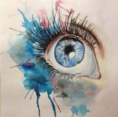 Eye watercolor paint artwork