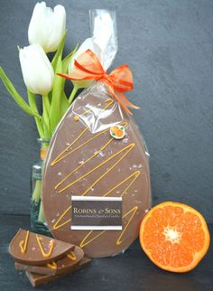 Orange Crackle TM Easter Egg Bar - Belgian Milk chocolate infused with natural Valencian orange oil and finely crushed fruit candy cane - deliciously different!
