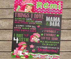 Strawberry Shortcake Birthday Chalkboard Sign First Birthday Chalkboard - PRINTED Strawberry Shortcake Party First Birthday Girl Party Sign