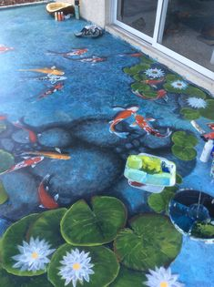 Pond painting - 30 Astonishing Outdoor Fish Ponds Design On Your Home – Pond painting Floor Murals, Floor Art, Koi Art, Fish Art, Pond Painting, Floor Painting, Outdoor Fish Ponds, Koi Fish Designs, Diy Jardin