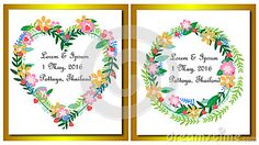 Vintage Wedding Card with Laurel Wreath in golden background