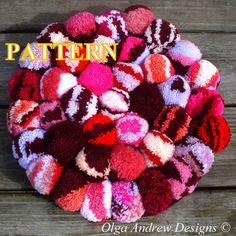 Pompom rug crochet pattern pompom cushion by OlgaAndrewDesigns