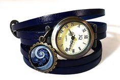 Blue Spiral Ladies Watch, Game of Thrones Leather Watch Bracelet