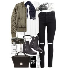 Outfit with black ripped jeans and khaki bomber jacket by ferned on Polyvore featuring H&M, 3.1 Phillip Lim, Forever 21, Burberry, Topshop, Cartier, Acne Studios, Ray-Ban, Casetify and Maison Scotch