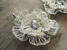 silver plated wire crochet flower earrings with swarovski